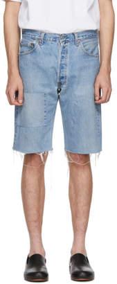 B Sides Indigo Reworked Patchwork Seamed Shorts