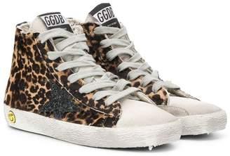 Golden Goose Kids hi-top leopard print sneakers