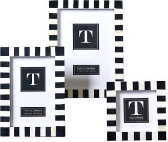 Twos Company Domino Striped Photo Frames (Set of 3)