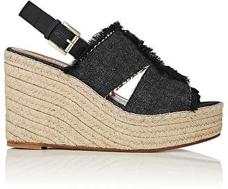 Barneys New York Women's Denim Platform-Wedge Espadrille Sandals