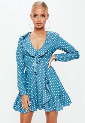 Missguided Petite Polka Dot Wrap Around Tea Dress