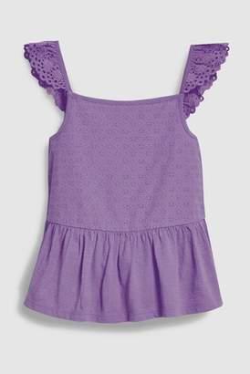 Next Girls Purple Broderie Peplum Vest (3-16yrs)