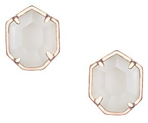 Logan Rose Gold Stud Earrings in Ivory Pearl