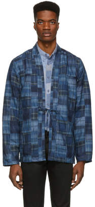 Naked & Famous Denim Denim Blue Patchwork Kimono Shirt