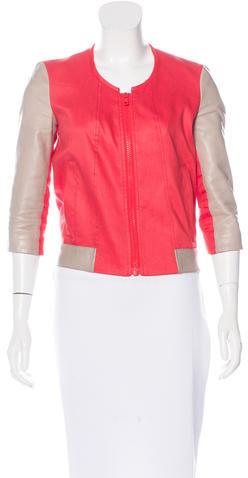 Helmut LangHelmut Lang Linen Leather-Trimmed Jacket