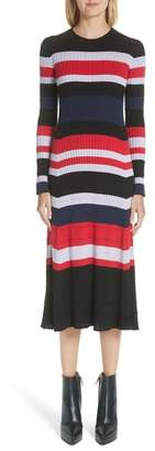 Proenza Schouler Wool, Silk & Cashmere Stripe Sweater Dress