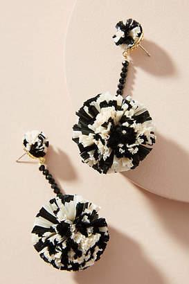 Anthropologie Raffia Pom Drop Earrings