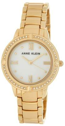 Anne Klein Women's Gold Mother of Pearl Bracelet Watch