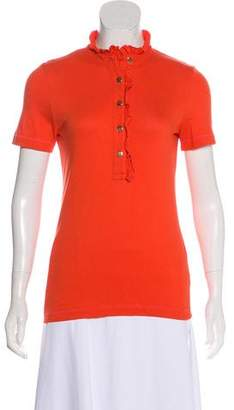 Tory Burch Ruffle-Accented Polo Top