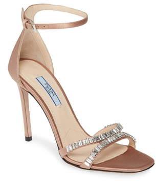Prada Crystal Ankle Strap Stiletto Sandal