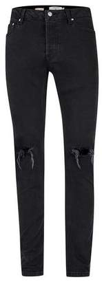 Topman Mens Washed Black Ripped Stretch Skinny Jeans