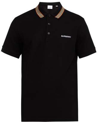 Burberry Icon Stripe Cotton Pique Polo Shirt - Mens - Black