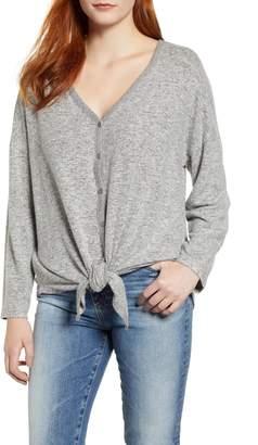 Caslon Tie Front Cozy Knit Shirt