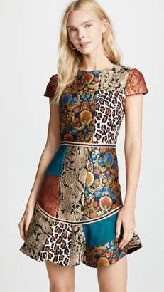 Alice + Olivia Rapunzel Patchwork Curved Hem Dress