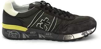 Premiata Lander Sneaker In Grey Leather Upper And Green Nylon.