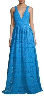 ML Monique Lhuillier Lace V-Neck Gown