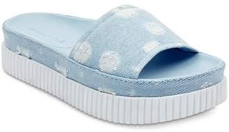 KENDALL + KYLIE Isla Dot-Distressed Denim Slide Sandals - 100% Exclusive