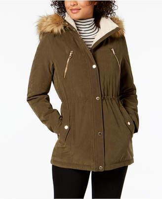 Nautica Faux-Fur-Trim Hooded Anorak