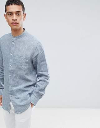 Benetton Linen Shirt With Grandad Collar In Blue
