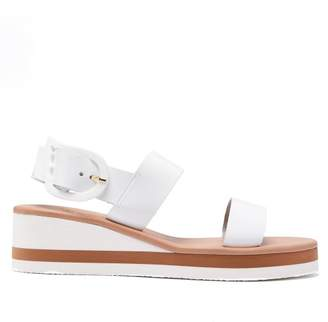 Ancient Greek Sandals Clio Rainbow Wedge Heel Patent Leather Sandals - Womens - White