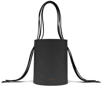 Mansur Gavriel Fringe Red Lined Leather Bucket Bag - Womens - Black