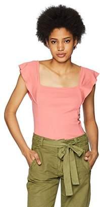 Three Dots Women's Heritage Knit Flutter Sleeve Short Tight Top