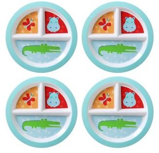 Mainstays Kids 4-Pack Melamine Round Divided Plate, Multiple Prints