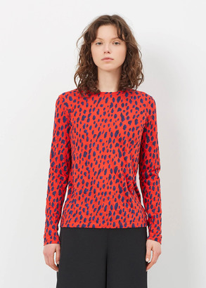 Proenza Schouler tomato/electric blue/navy leopard long sleeve printed t-shirt $290 thestylecure.com
