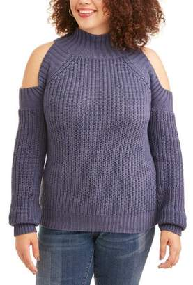 POOF Juniors' Plus Size Cold Shoulder Sweater