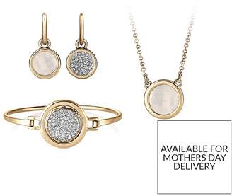 Buckley London Gold Plated Eclipse Reversible Bangle, Earrings & Necklace Set With FREE Gift Bag