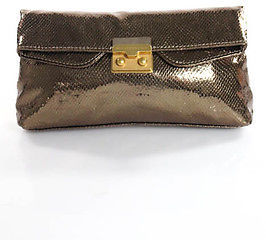 Marc By Marc JacobsMarc By Marc Jacobs Brown Leather Metallic Embossed Clutch Handbag