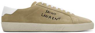 Saint Laurent Beige Suede Writing Logo Sneakers