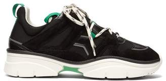 Isabel Marant Kindsay Leather And Suede Trainers - Womens - Black Green
