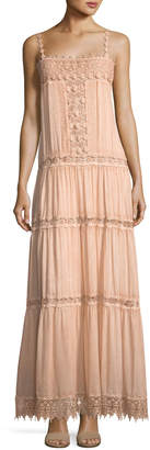 Neiman Marcus Queen & Pawn Square-Neck Sleeve Cotton-Silk Maxi Dress with Lace Details