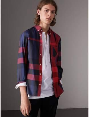 Burberry Button-down Collar Check Stretch Cotton Blend Shirt