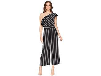 Laundry by Shelli Segal One Shoulder Stripe Jumpsuit with Pockets Women's Jumpsuit & Rompers One Piece