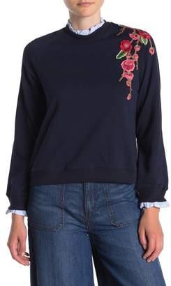 SWEET RAIN Floral Embroidered Ruffle Trim Sweatshirt