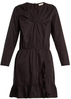 Mes Demoiselles Amazone V Neck Ruffle Trimmed Cotton Dress - Womens - Black