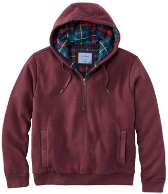 L.L. Bean L.L.Bean Men's Flannel Lined Sweatshirt, Half-Zip Hoodie