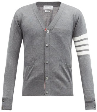 Thom Browne 4 Bar V Neck Merino Wool Cardigan - Mens - Grey