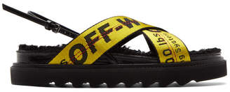 Off-White Off White Black and Yellow Shearling Industrial Belt Sandals