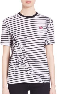 McQ Alexander McQueen Striped Pleated T-Shirt $210 thestylecure.com