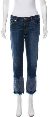 Tory Burch Mid-Rise Embroidered Jeans