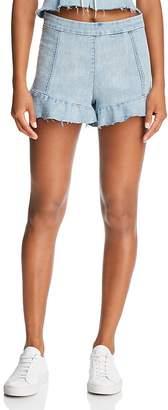 Blank NYC BLANKNYC Ruffled Denim Shorts in Champagne Social - 100% Exclusive