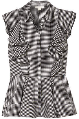 Antonio Berardi Ruffled Gingham Cotton Peplum Top - Black