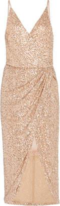 Jonathan Simkhai Wrap-Effect Sequined Chiffon Midi Dress Size: XS
