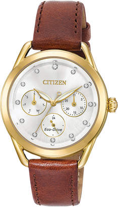 Citizen Drive from Eco-Drive Women's Brown Leather Strap Watch 38mm