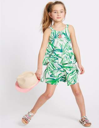 Marks and Spencer 2 Piece Printed Top & Shorts Outfit (3-16 Years)