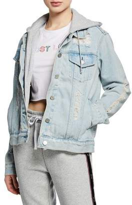 KENDALL + KYLIE Destructed Hooded Denim Trucker Jacket