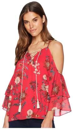 Miss Me Halter Open Shoulder Lace-Up Top Women's Clothing